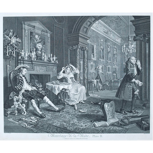 Sub.:1 - Lote: 29 - WILLIAM HOGARTH,( 1697-1764) THOMAS COOK,(1744-1814).  Matrimonio a la moda, Pl II: Después de uina noche de fiesta.