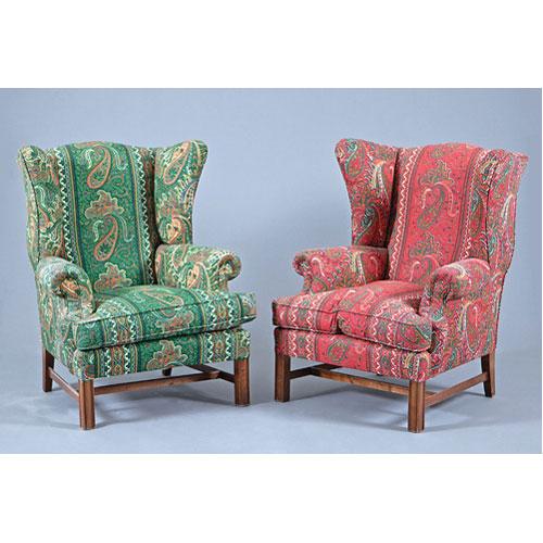 Abalarte subastas pareja de sillones orejeros tapizados for Sillones orejeros tapizados