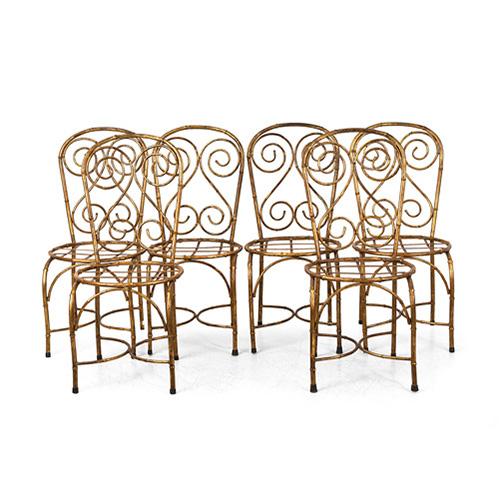 ABALARTE SUBASTAS - Juego de 6 sillas de jardín en metal dorado ...