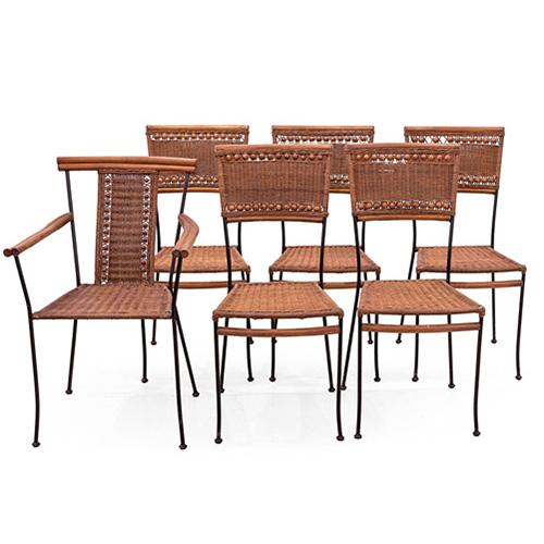 Abalarte Subastas - Conjunto de cinco sillas y una butaca de jardín ...