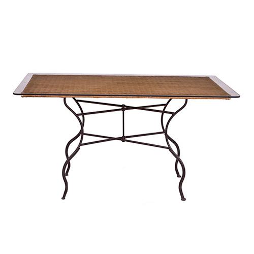 ABALARTE SUBASTAS - Mesa de jardín en hierro patinado, mimbre y ...