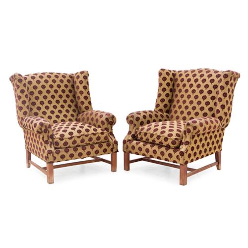 Abalarte subastas pareja de sillones orejeros tapizados muebles sillones - Precios de tapizados de sillones ...
