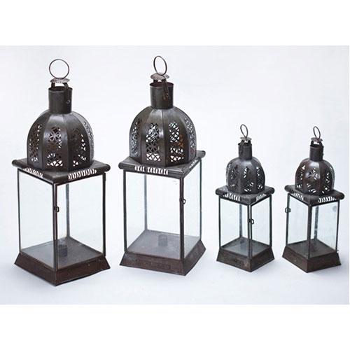 Abalarte subastas lote de dos parejas de faroles marroqu es en metal objetos varios - Muebles marroquies en madrid ...