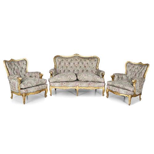 conjunto de sof y dos sillones estilo