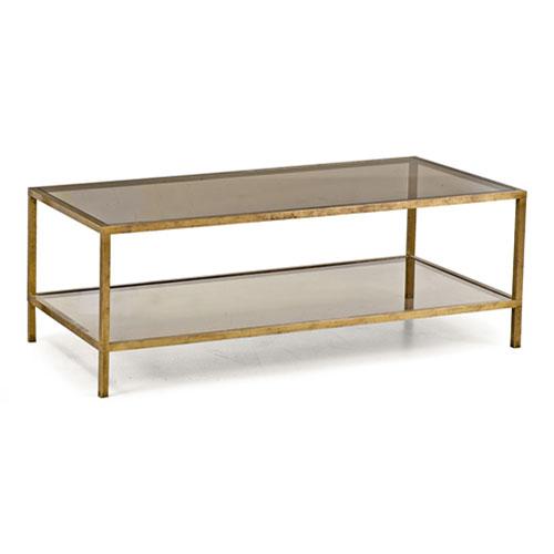 mesa de centro dorada y cristal