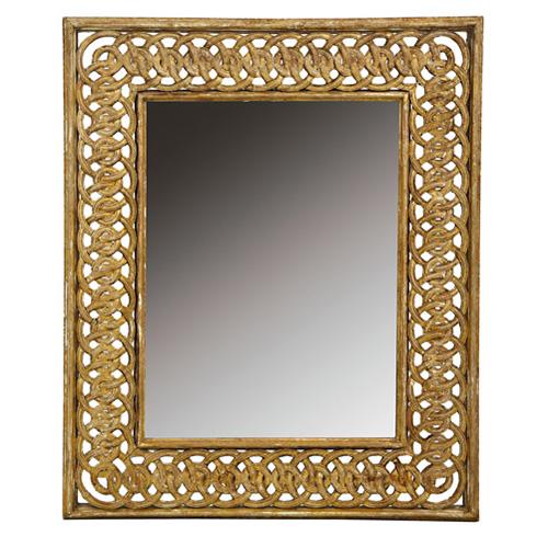 Abalarte subastas espejo con marco en madera calada for Disenos de marcos de madera para espejos