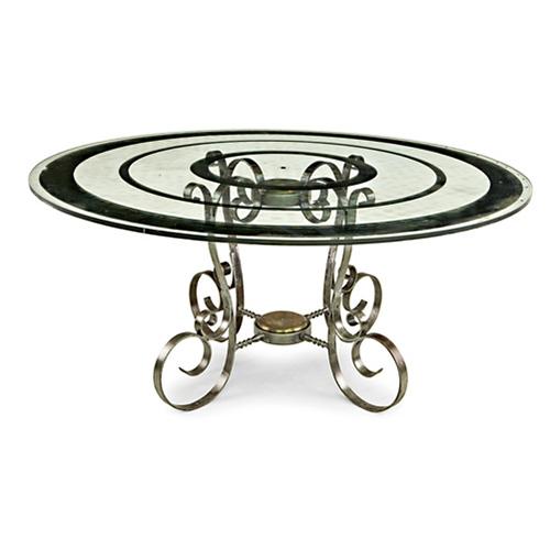 ABALARTE SUBASTAS - Mesa de comedor circular de jardín con tapa de ...
