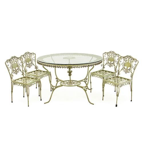 ABALARTE SUBASTAS - Conjunto de jardín formado por mesa circular ...
