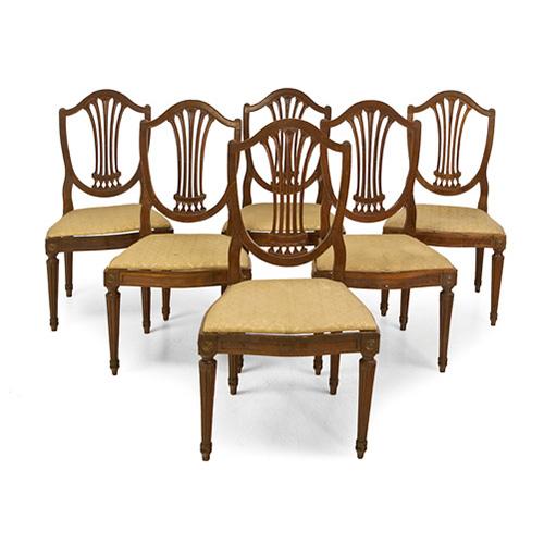Abalarte subastas conjunto de 8 sillas antiguas de - Sillas antiguas de madera ...