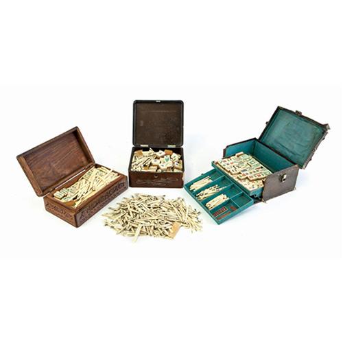 Abalarte Subastas Lote De Tres Juegos De Mahjong Chinos Antiguos