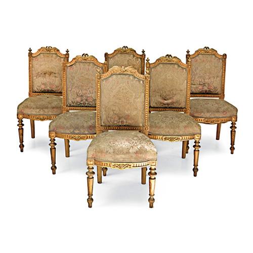 Abalarte subastas conjunto de seis sillas estilo luis xvi en madera tallada y dorada - Sillas estilo luis xvi ...